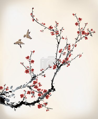 Illustration for Chinese ink paint of wintersweet - Royalty Free Image