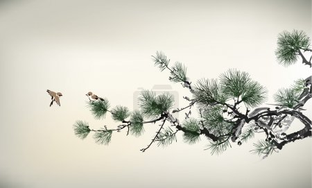 Illustration for Ink style Pine Tree - Royalty Free Image