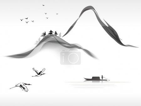 Illustration for Landscape painting - Royalty Free Image
