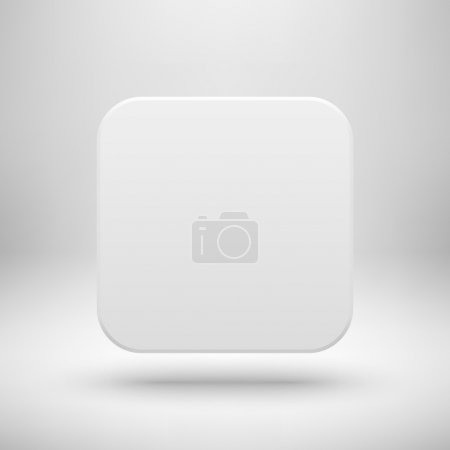White Abstract Blank App Icon Button Template