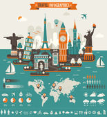 Travel Infographics Elements and Famous Landmarks