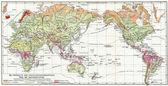 Mapa rozložení vegetace na zemi. vydání knihy meyers konversations-lexikon, svazek 7, Lipsko, Německo, 1910