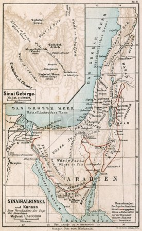 Map of Sinai Peninsula. The route of exodus of Jews from Egypt. The Bible. Germany, circa 1895