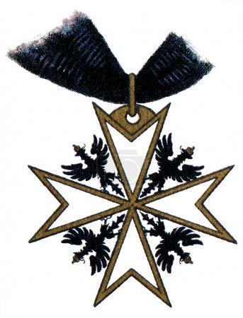 "Order of Saint John (Bailiwick of Brandenburg), (Prussia, 1099, restored in 1852). Publication of the book ""Meyers Konversations-Lexikon"", Volume 7, Leipzig, Germany"