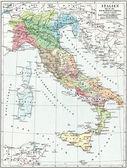 Mapa Itálie, dob císaře Augusta. vydání knihy meyers konversations-lexikon, svazek 7, Lipsko, Německo, 1910