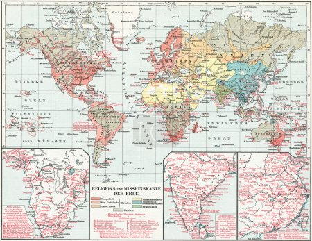 """Map of the spread of major religions in the world. Missionary Map. Publication of the book """"Meyers Konversations-Lexikon"""", Volume 7, Leipzig, Germany, 1910"""