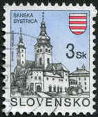 SLOVAKIA - CIRCA 1994: Postage stamps printed in Slovakia, represented the town Banska Bystrica, circa 1994