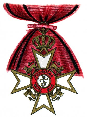 """Order of the Crown (Wuerttemberg, 1818). Publication of the book """"Meyers Konversations-Lexikon"""", Volume 7, Leipzig, Germany, 1910"""