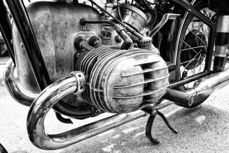 BERLIN - MAY 11: Motorcycle engine BMW R68 (black and white), 26th Oldtimer-Tage Berlin-Brandenburg, May 11, 2013 Berlin, Germany