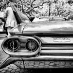 Постер, плакат: Rear brake lights Cadillac de Ville Coupe Black and White