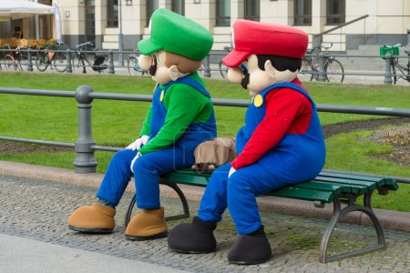 Animators in costume Super Mario Bros. near the Brandenburg Gate