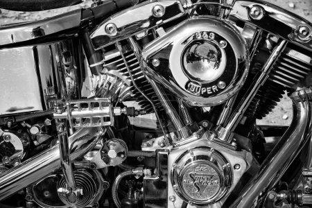 Motorcycle Engine Harley Davidson Custom Chopper, black and white
