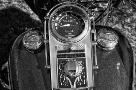 Detail of the dashboard and fuel tank motorcycle Harley-Davidson Electra Glide Ultra Classic, black and white