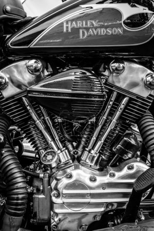 BERLIN, GERMANY - MAY 17, 2014: Twin Cam engine of the motorcycle Harley-Davidson. Black and white. 27th Oldtimer Day Berlin - Brandenburg