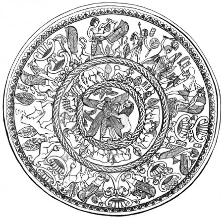 """Bowl, Archaic Cypriot. Said to be from Kourion Gilt silver (ca. 725-675 BC). Publication of the book """"History of Art in images"""", Leipzig, Germany, 1892"""