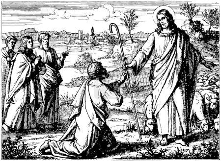 Old engraving. Good Shepherd.