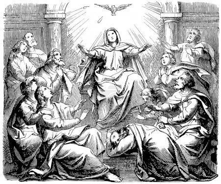 Old engraving. Pentecost.