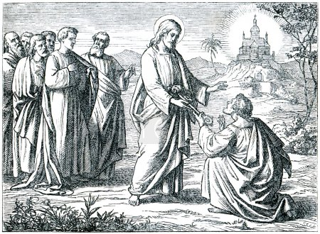 "Antique engraving, ""Christ Giving the Keys of Paradise to St. Peter"""