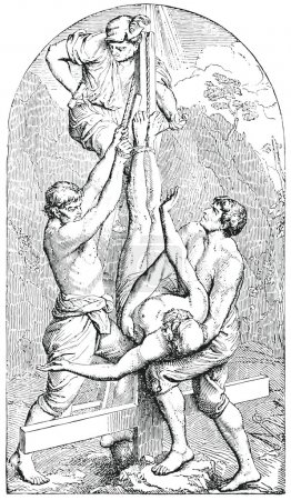 Old engraving. The Crucifixion of St. Peter
