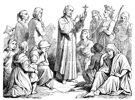 Old engravings. Depicted preaching missionary.