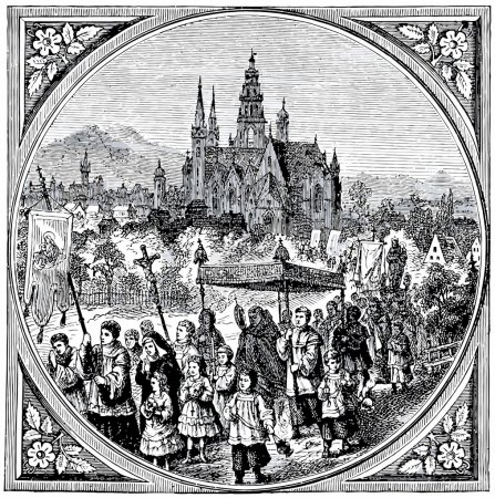 Old engravings. Shows the Corpus Christi procession