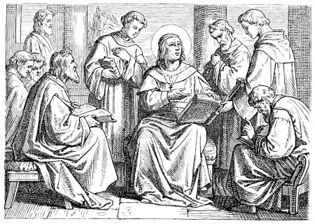 Old engravings. Depicts Augustine of Hippo, church school.