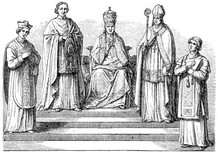 Old engravings. Depicts the Catholic hierarchy