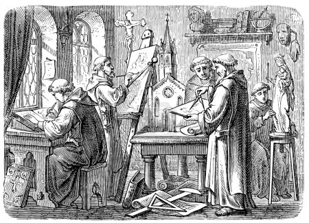 Old engravings. Depicts monks at work.