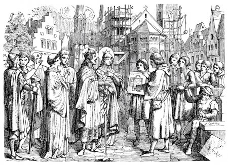 Old engravings. Depicted Henry II, Holy Roman Emperor, the founder of the Roman Catholic Archdiocese of Bamberg