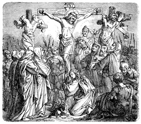 Old engravings. Shows the crucifixion of Christ.