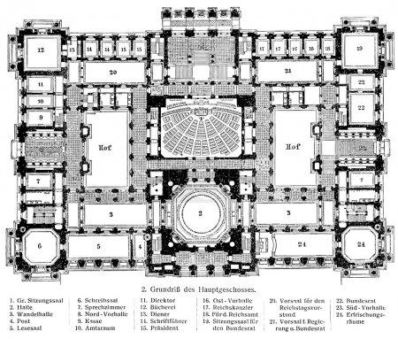 A schematic layout Reichstag.