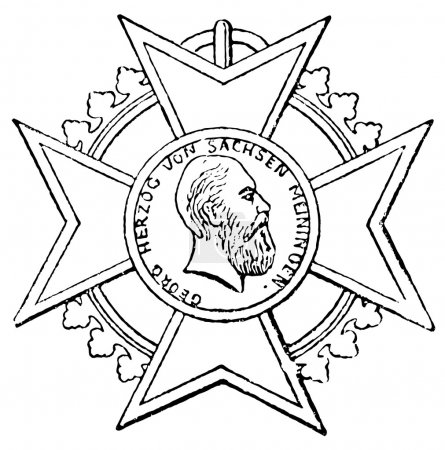 "Order of Merit for Art and Science (Saxe-Meiningen, 1874). Publication of the book ""Meyers Konversations-Lexik on"", Volume 7, Leipzig, Germany, 1910"