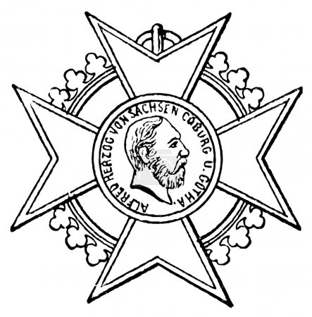"Cross of Merit for Art and Science (Saxe-Coburg and Gotha, 1835). Publication of the book ""Meyers Konversations-Lexik on"", Volume 7, Leipzig, Germany, 1910"