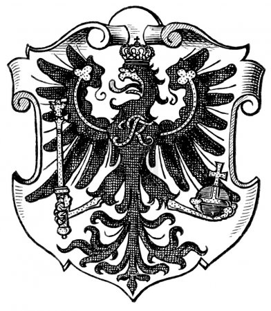 "Coat of Arms East Prussia, (Province of Kingdom of Prussia). Publication of the book ""Meyers Konversations-Lexikon"", Volume 7, Leipzig, Germany, 1910"
