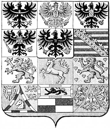 "Coats of Arms of the Kingdom of Prussia. Publication of the book ""Meyers Konversations-Lexikon"", Volume 7, Leipzig, Germany, 1910"