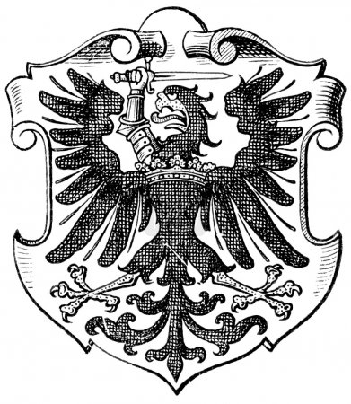 """Coat of Arms West Prussia, (Province of Kingdom of Prussia). Publication of the book """"Meyers Konversations-Lexikon"""", Volume 7, Leipzig, Germany, 1910"""
