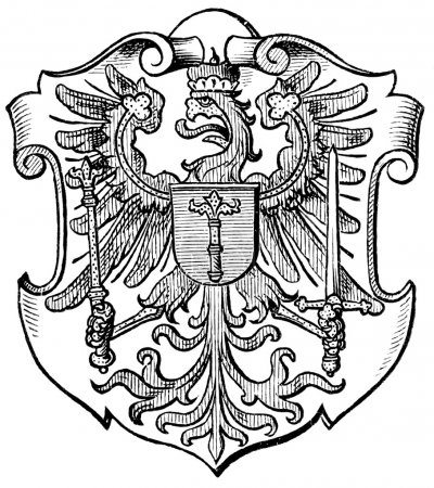 "Coat of Arms Brandenburg, (Province of Kingdom of Prussia). Publication of the book ""Meyers Konversations-Lexikon"", Volume 7, Leipzig, Germany, 1910"