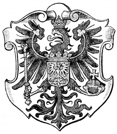 "Coat of Arms Poznan, (Province of Kingdom of Prussia). Publication of the book ""Meyers Konversations-Lexikon"", Volume 7, Leipzig, Germany, 1910"