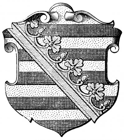 "Coat of Arms of Saxony (Province of Kingdom of Prussia). Publication of the book ""Meyers Konversations-Lexikon"", Volume 7, Leipzig, Germany, 1910"