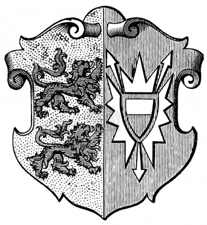 "Coat of Arms Schleswig-Holstein, (Province of Kingdom of Prussia). Publication of the book ""Meyers Konversations-Lexikon"", Volume 7, Leipzig, Germany, 1910"