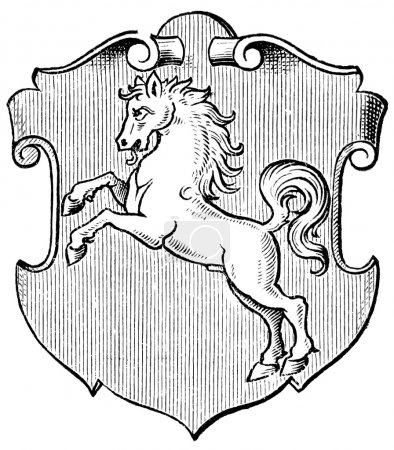 "Coat of Arms Westphalia, (Province of Kingdom of Prussia). Publication of the book ""Meyers Konversations-Lexikon"", Volume 7, Leipzig, Germany, 1910"