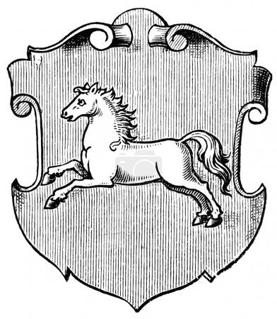 "Coat of Arms Hanover, (Province of Kingdom of Prussia). Publication of the book ""Meyers Konversations-Lexikon"", Volume 7, Leipzig, Germany, 1910"