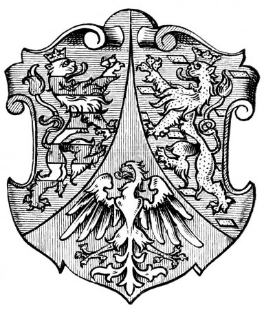 "Coat of Arms Hesse-Nassau, (Province of Kingdom of Prussia). Publication of the book ""Meyers Konversations-Lexikon"", Volume 7, Leipzig, Germany, 1910"