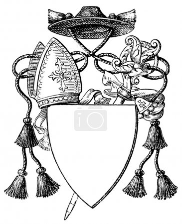 "Abbot Coat of Arms. The Roman Catholic Church. Publication of the book ""Meyers Konversations-Lexikon"", Volume 7, Leipzig, Germany, 1910"