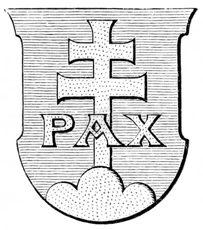 "Coat of Arms Order of Saint Benedict. The Roman Catholic Church. Publication of the book ""Meyers Konversations-Lexikon"", Volume 7, Leipzig, Germany, 1910"