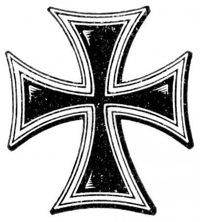 "A cross of the Teutonic Order. The Roman Catholic Church. Publication of the book ""Meyers Konversations-Lexikon"", Volume 7, Leipzig, Germany, 1910"