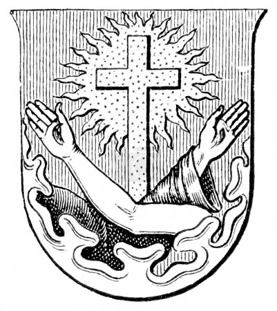 "Coat of Arms Order of Friars Minor. The Roman Catholic Church. Publication of the book ""Meyers Konversations-Lexikon"", Volume 7, Leipzig, Germany, 1910"