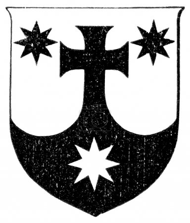 "Coat of Arms Order of Discalced Carmelites. The Roman Catholic Church. Publication of the book ""Meyers Konversations-Lexikon"", Volume 7, Leipzig, Germany, 1910"