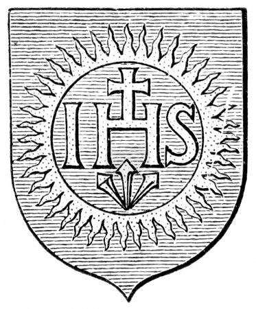"Coat of Arms Society of Jesus. The Roman Catholic Church. Publication of the book ""Meyers Konversations-Lexikon"", Volume 7, Leipzig, Germany, 1910"