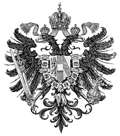 "Smaller coat of arms of the Empire of Austria form Congress of Vienna 1815-1867 (Austro-Hungarian Monarchy). Publication of the book ""Meyers Konversations-Lexikon"","